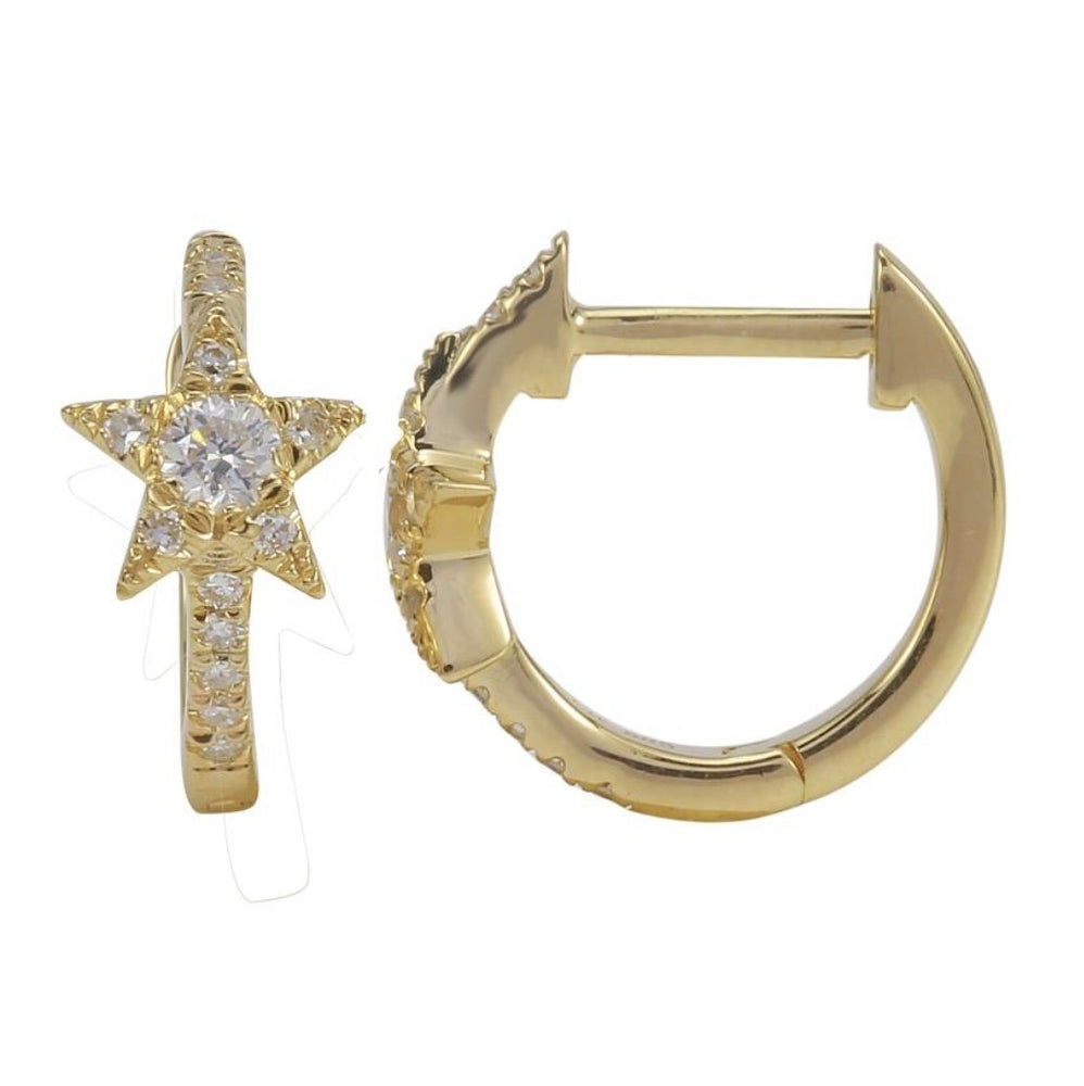 Load image into Gallery viewer, 14KT Gold Diamond Star Huggie Earrings, New