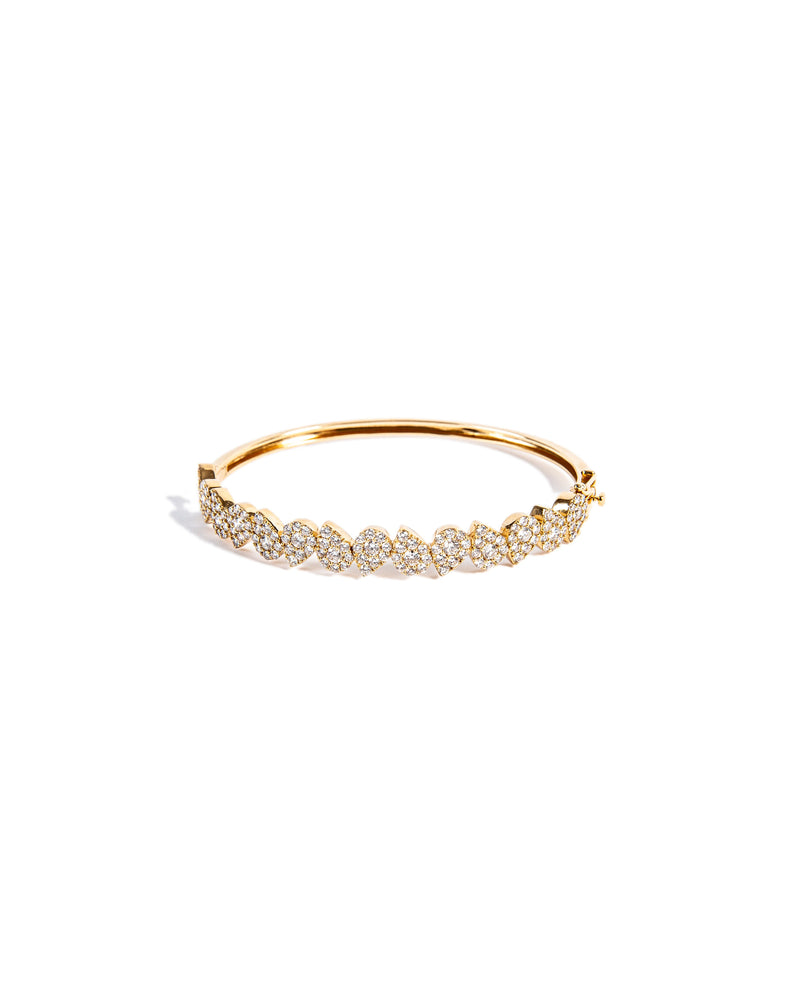 Load image into Gallery viewer, 14KT Gold Pear Diamond Illusion Bangle Bracelet