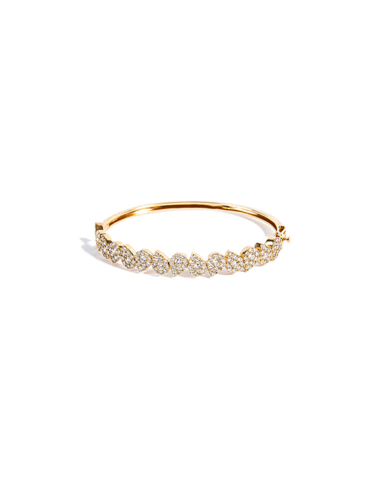 14KT Gold Pear Diamond Illusion Bangle Bracelet, NEW