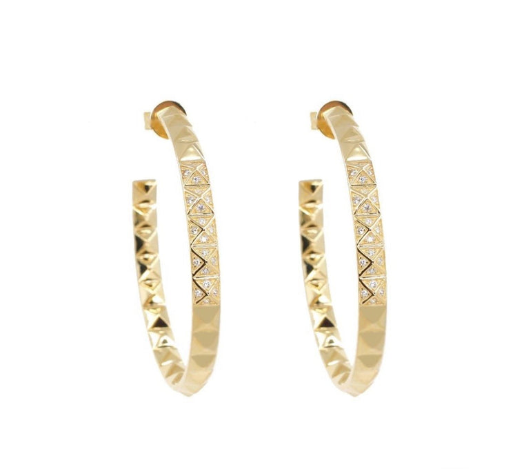 14KT Gold Diamond Spike Hoop Earrings, New