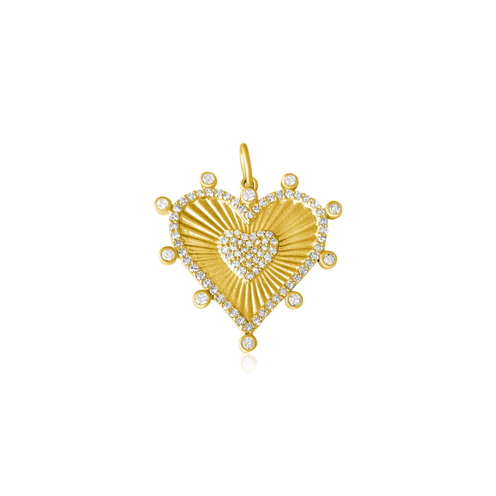 14KT Gold Diamond Verona Heart Pendant Charm, NEW