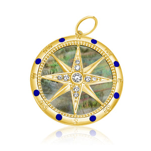 14KT Gold Diamond Mother of Pearl Compass  Pendant Charm, Best Seller!
