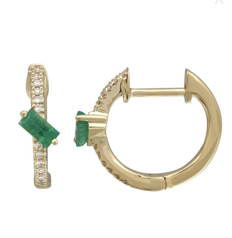 Load image into Gallery viewer, 14KT Gold Diamond Emerald Huggie Earrings, New