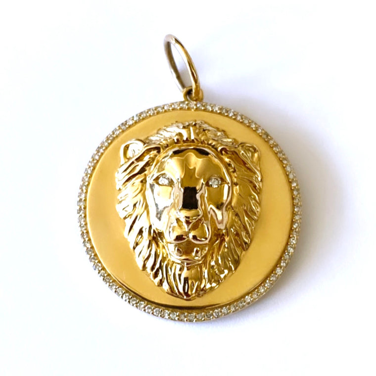 14KT Gold Diamond Large Lion Disk Pendant Charm, New