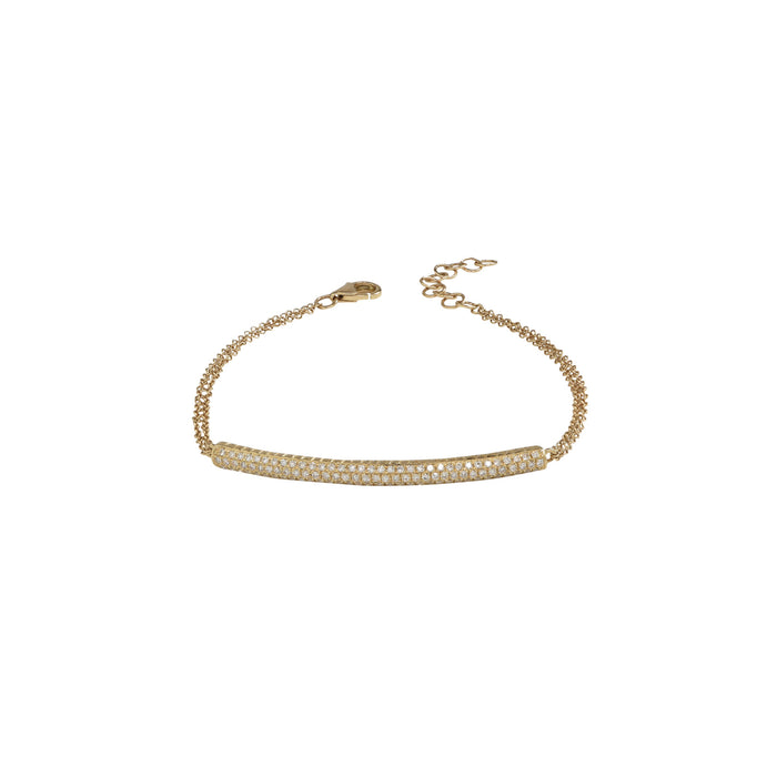 14K Yellow Gold Diamond Bar Double Chain Bracelet - DilaraSaatci