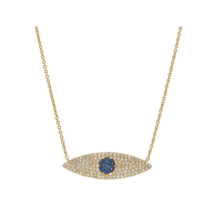 14K Yellow Gold, Diamond and Sapphire Evil Eye Necklace