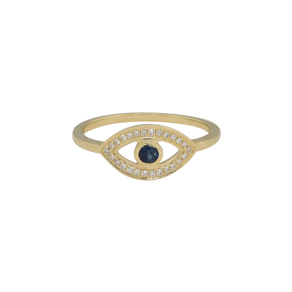 Load image into Gallery viewer, 14K Yellow Gold Evil Eye Ring - DilaraSaatci