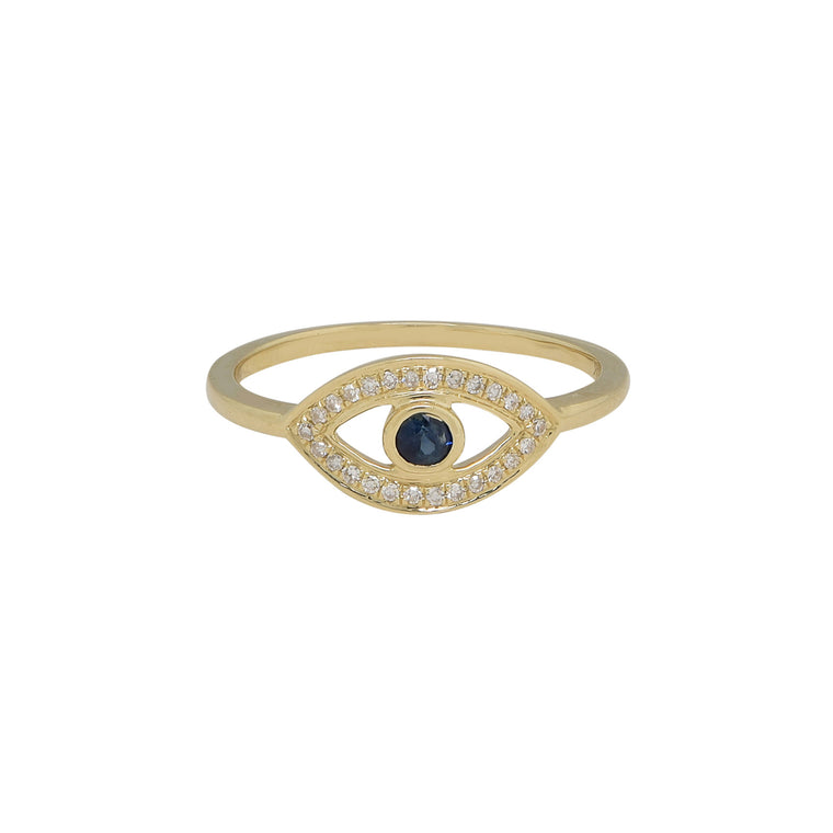14K Yellow Gold Evil Eye Ring