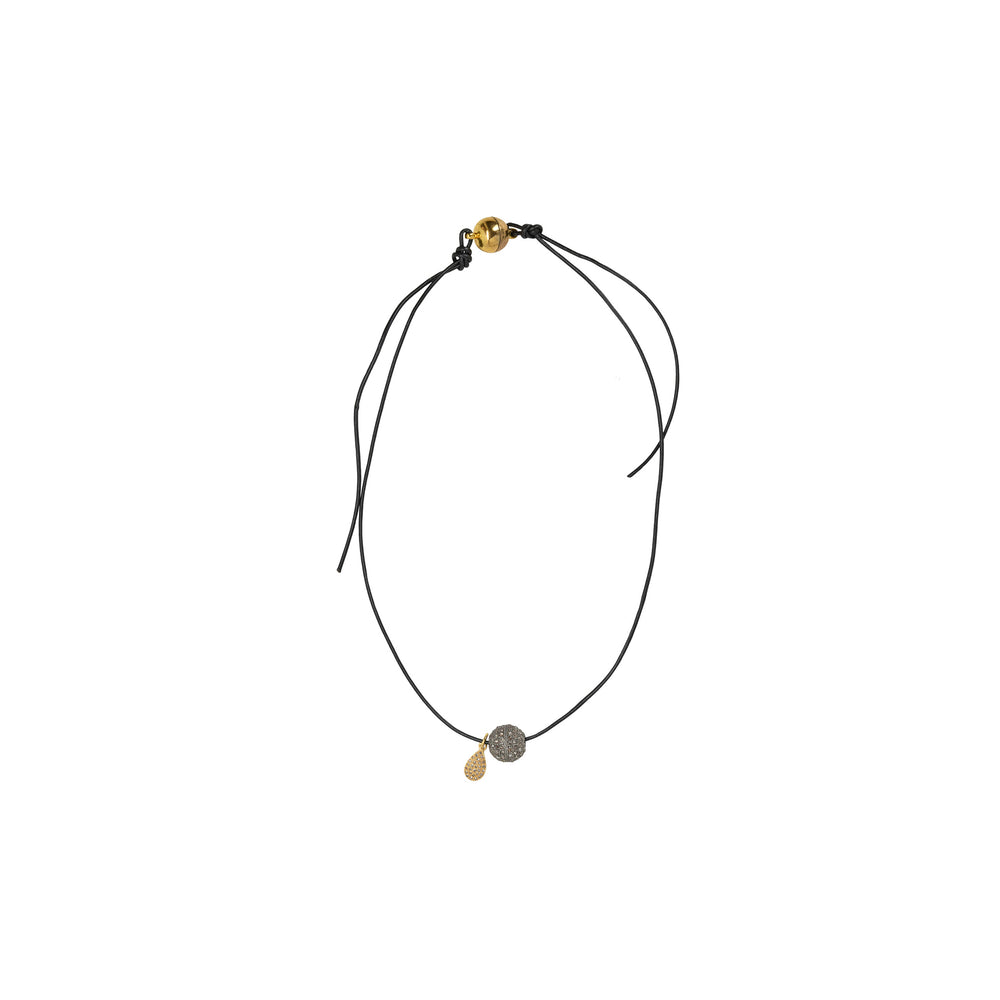 Diamond Ball and 14K Yellow Gold Drop Charm Necklace - DilaraSaatci