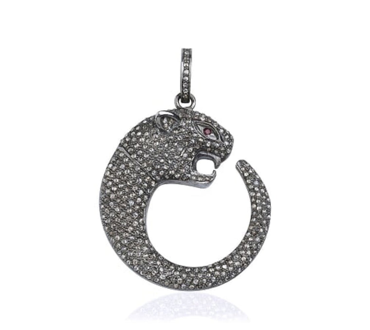 Black Rhodium Diamond Large Jaguar Charm Pendant, NEW