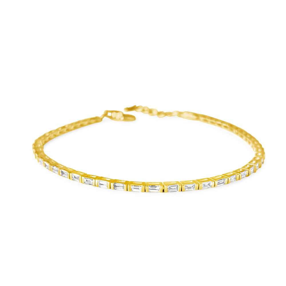 Load image into Gallery viewer, 14KT Gold Baguette Diamond Tennis Bracelet, NEW