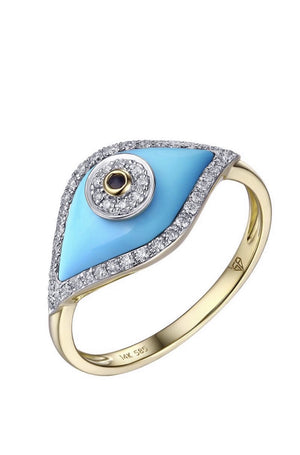14KT Gold Diamond Turquoise Evil Eye Ring