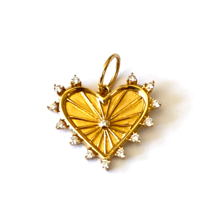 14KT Gold Diamond Sofie Heart Pendant Charm, New