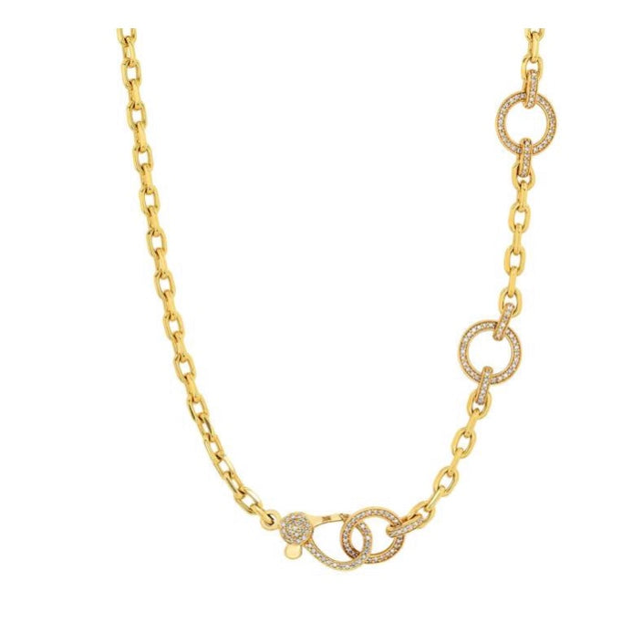 14KT Gold Diamond Three Ring Chain Necklace, Best Seller!
