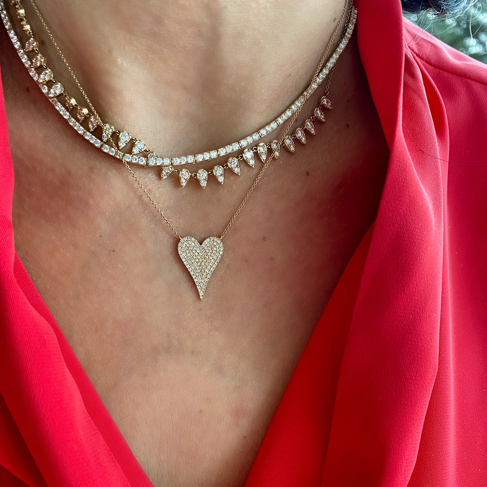 14KT Gold Diamond Elongated Heart Necklace, NEW
