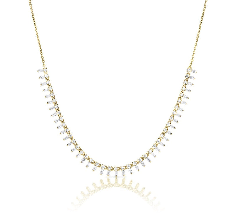 14KT Gold Baguette Diamond Princess Necklace, NEW