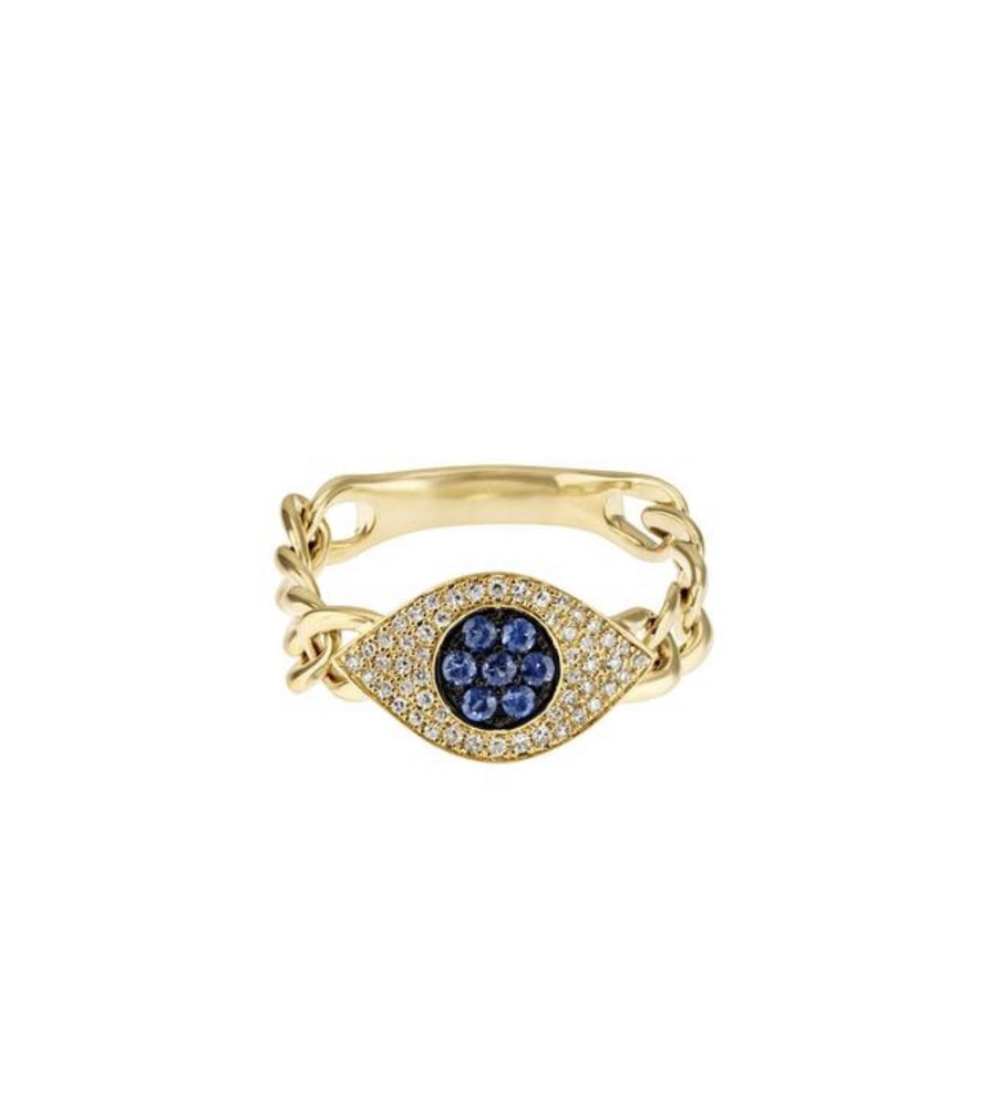 14KT Yellow Gold Diamond Sapphire Evil Eye Chain Ring - DilaraSaatci