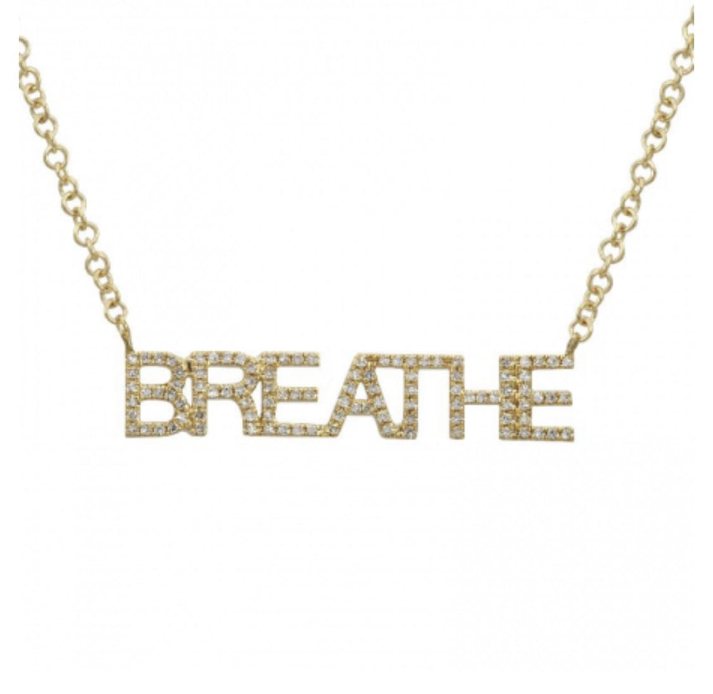 14KT Yellow Gold Diamond BREATHE Necklace, Special Price - DilaraSaatci