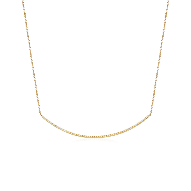 14KT Gold Diamond Thin Crescent Bar Necklace - DilaraSaatci