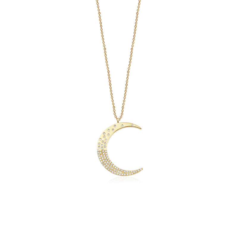 14KT  Yellow Gold Diamond Lunar Crescent Necklace, NEW - DilaraSaatci