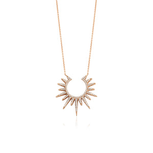 14KT Open Sunburst Diamond Necklace - DilaraSaatci
