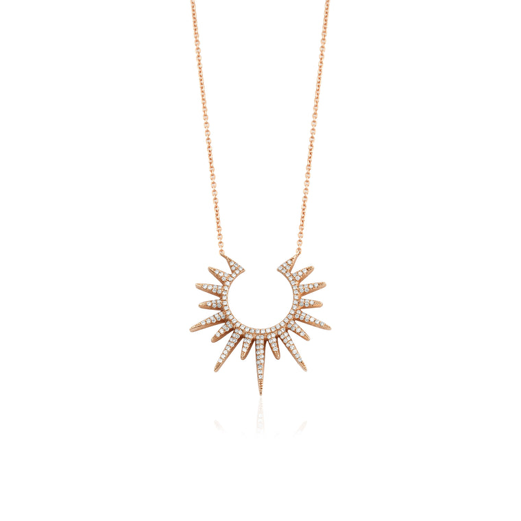14KT Gold Open Sunburst Diamond Necklace