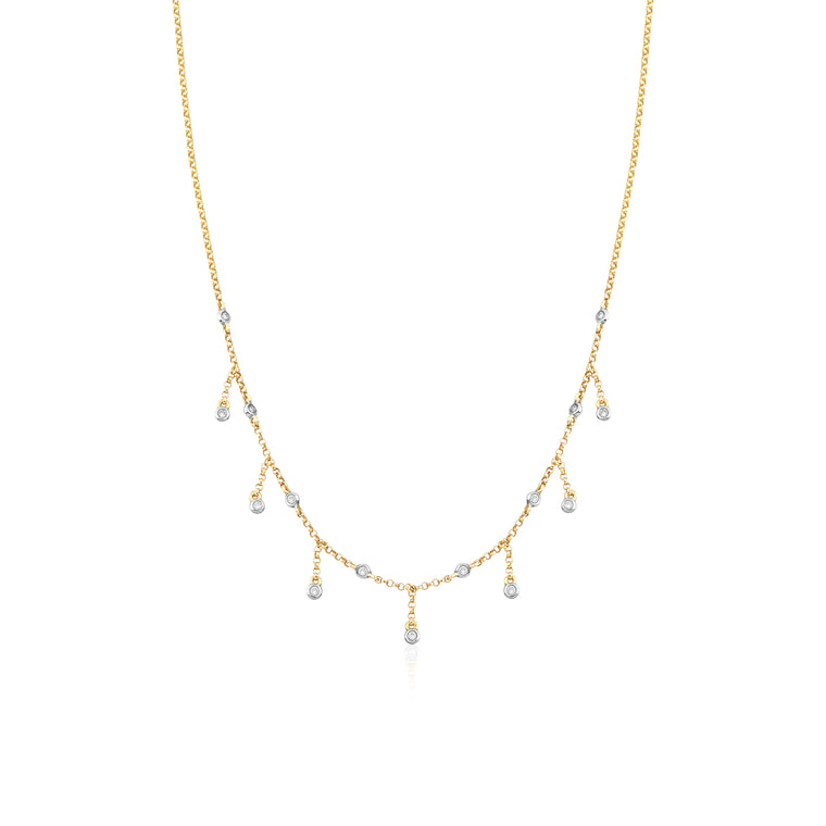 14KT Yellow Gold Sienna Diamond Drop Necklace, NEW