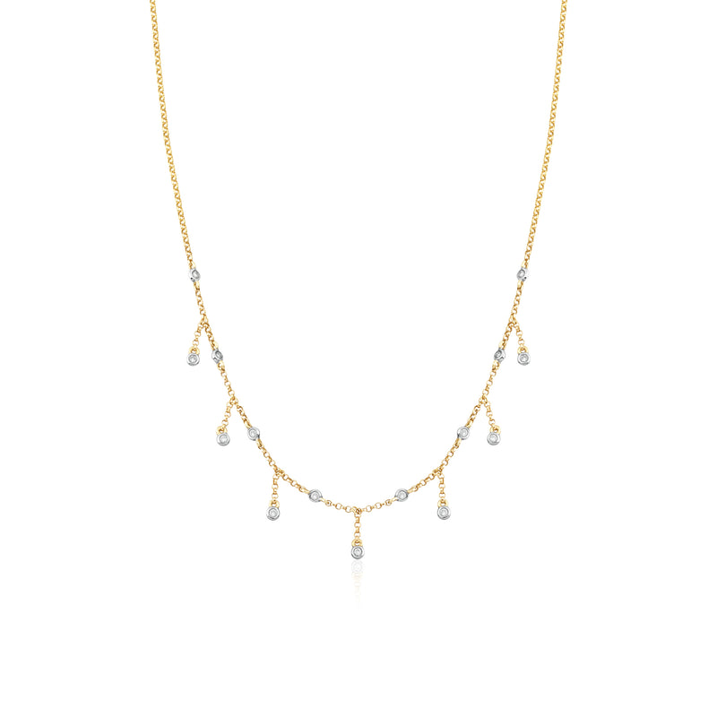14KT Yellow Gold Sienna Diamond Drop Necklace, NEW - DilaraSaatci