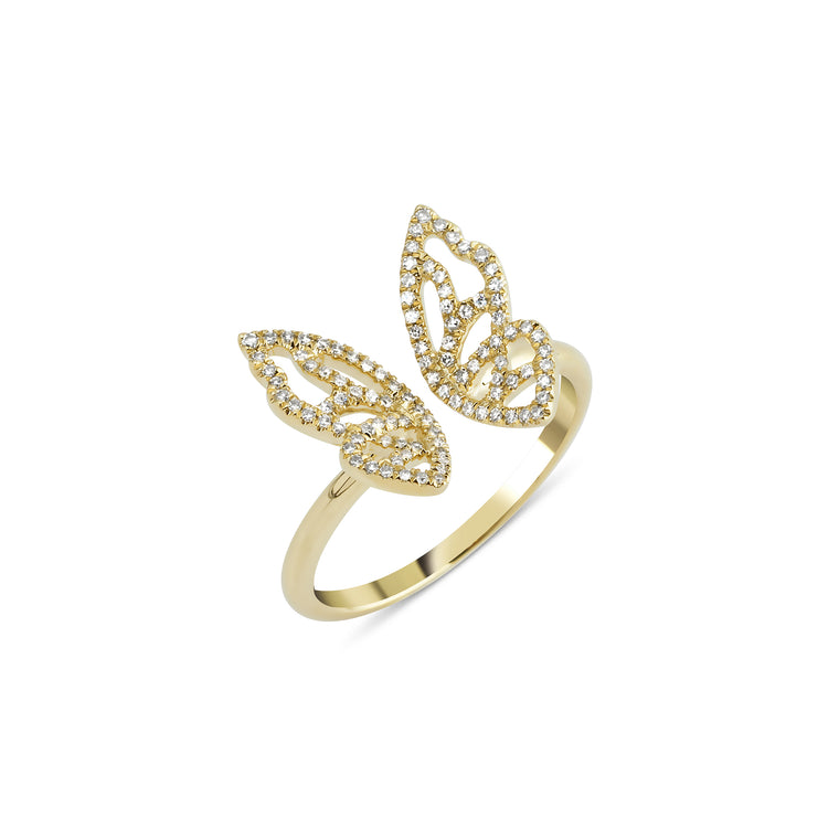 14KT Gold Diamond Butterfly Ring, NEW