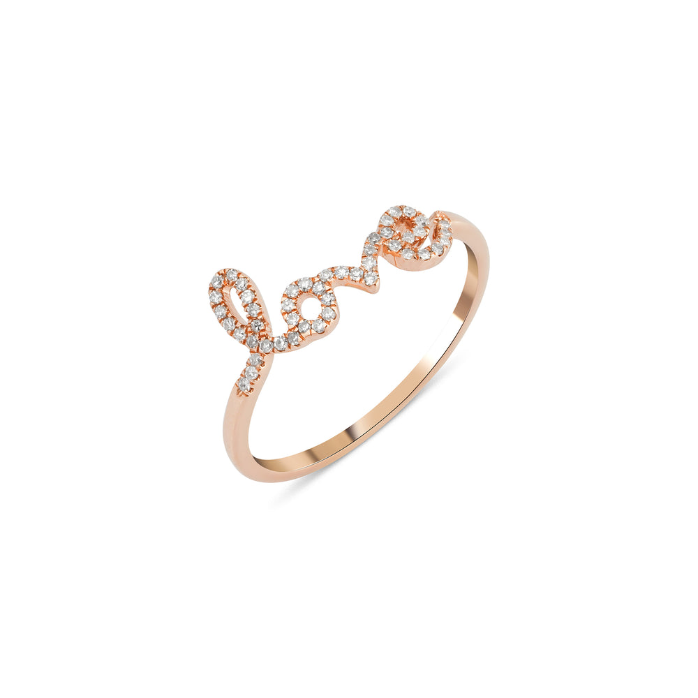 14KT Gold Love Script Ring - DilaraSaatci