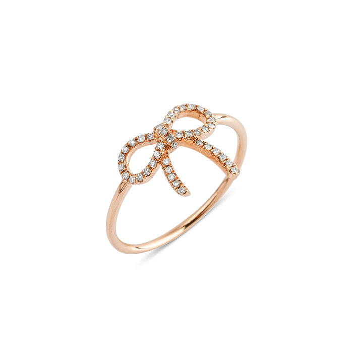 14KT Gold Tiny Bow Diamond Ring - DilaraSaatci