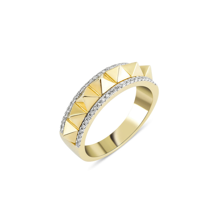 14KT Gold Spike Diamond Ring, NEW