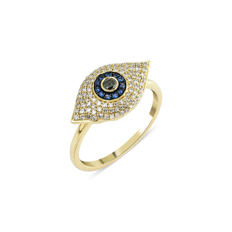 14KT Gold Diamond Evil Eye Statement Ring, NEW