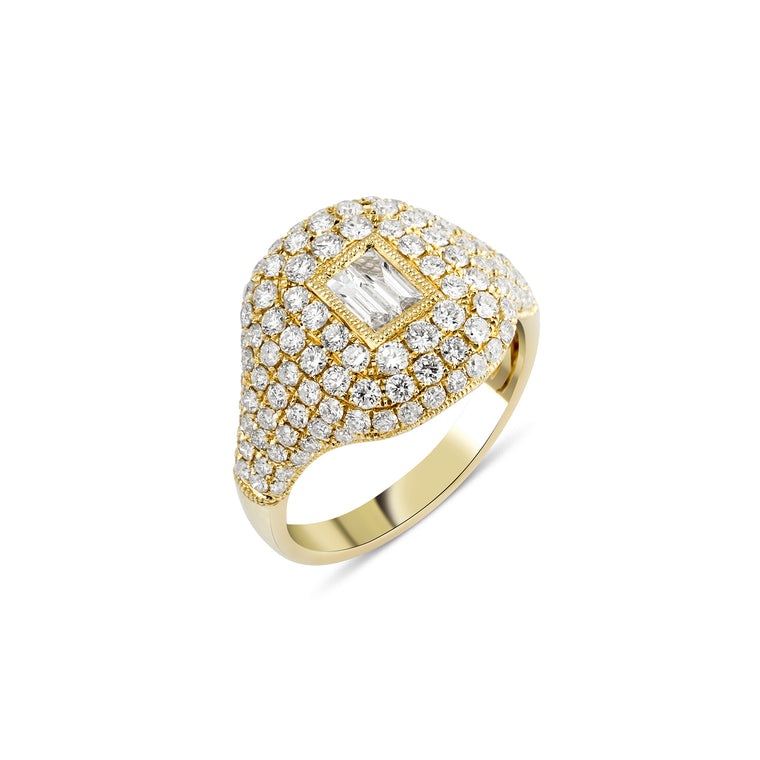 14KT Gold Diamond LUXE Cushion Ring