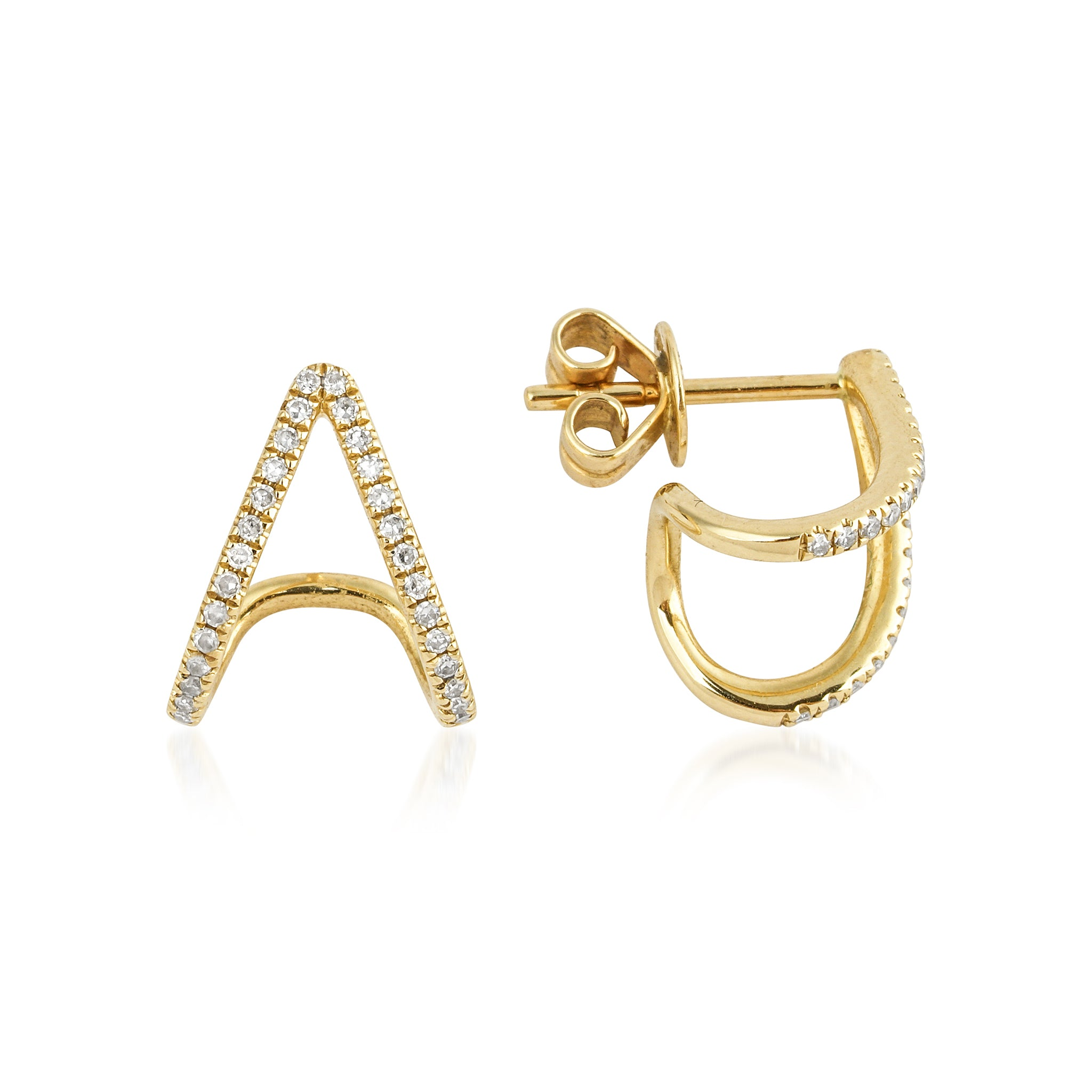 14KT Gold Diamond Huggie Earring - DilaraSaatci