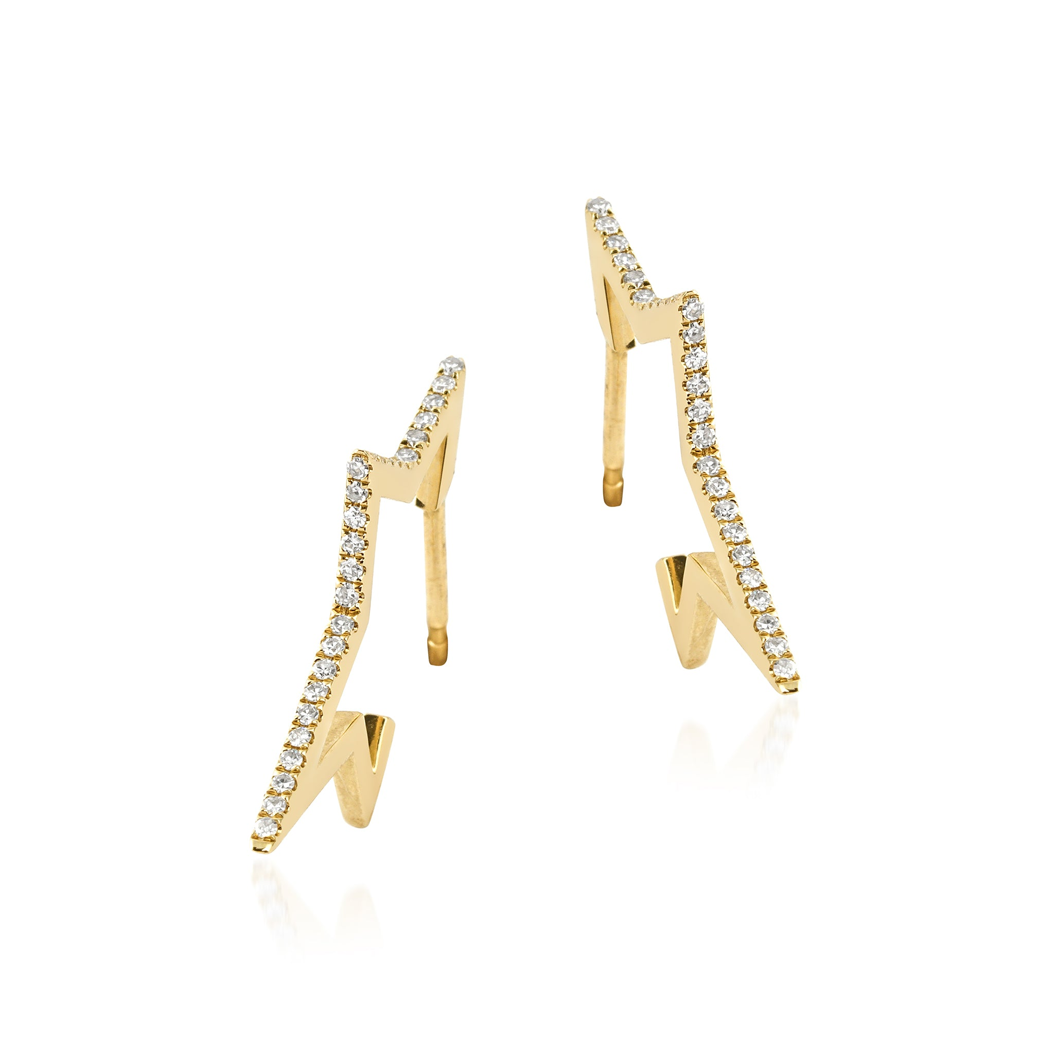 14KT Gold Diamond Curved Star Earrings, NEW - DilaraSaatci