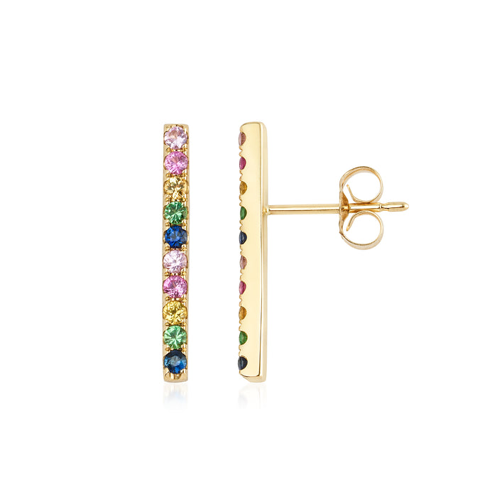 14KT Gold Rainbow Gemstone Bar Earrings, NEW - DilaraSaatci