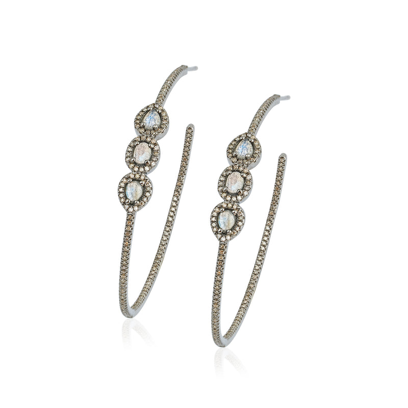 Diamond Labradorite Hoop Earrings , NEW - DilaraSaatci
