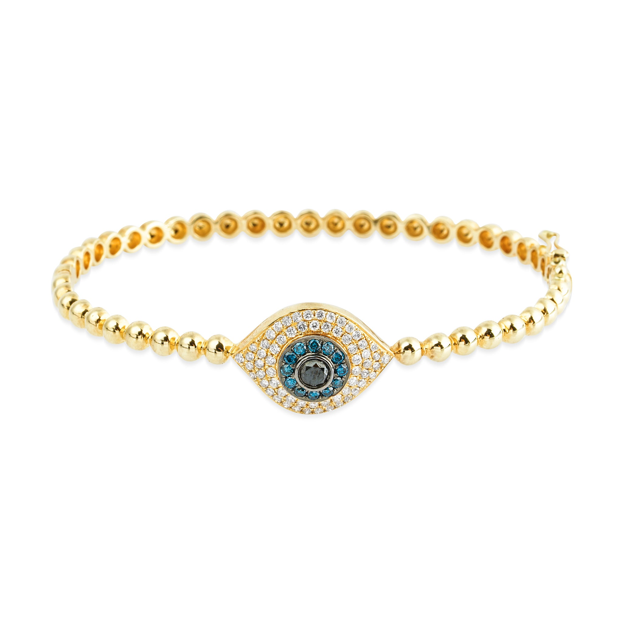 14KT Diamond Evil Eye LUXE Bangle Bracelet - DilaraSaatci