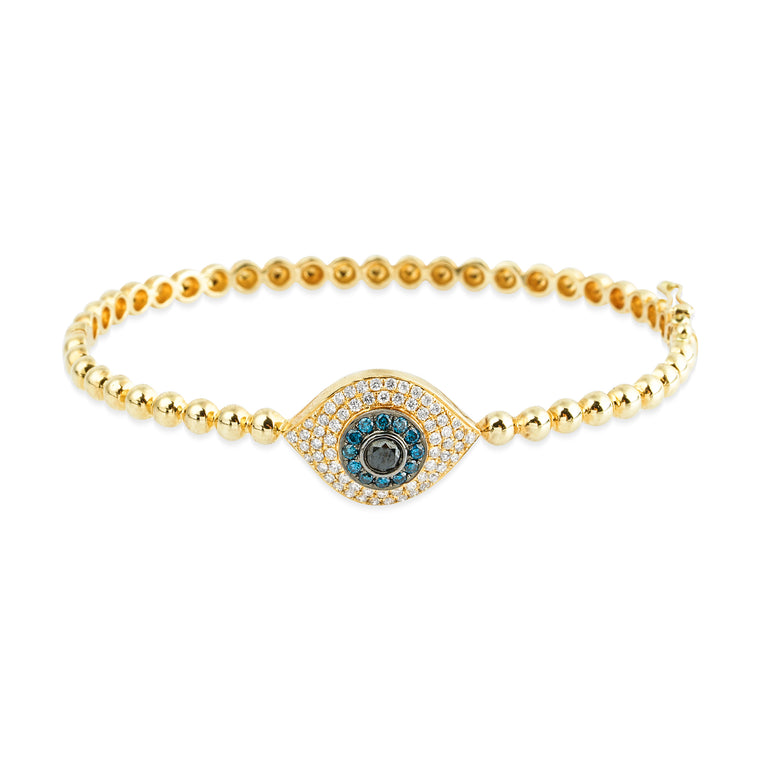 14KT Diamond Evil Eye LUXE Bangel Bracelet, NEW