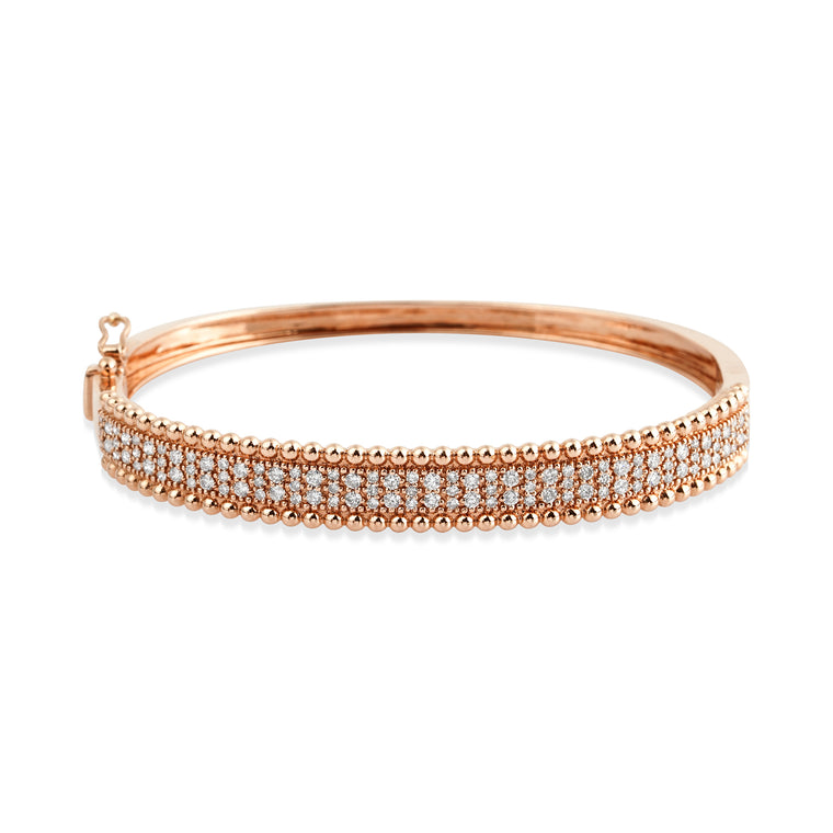 14KT Rosegold Diamond LUXE Bangle Bracelet, NEW