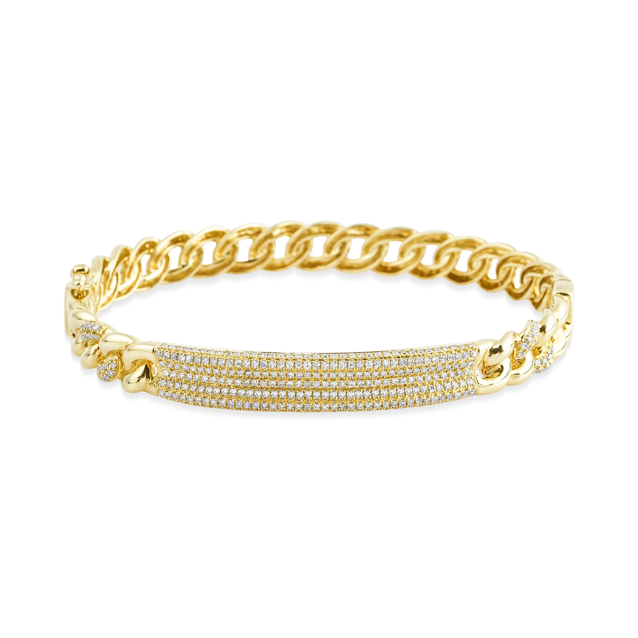 14 KT Gold Diamond Bar Link Bangle Bracelet, NEW - DilaraSaatci