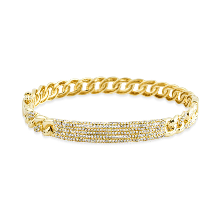 14 KT Gold Diamond Bar Link Bangle Bracelet, NEW