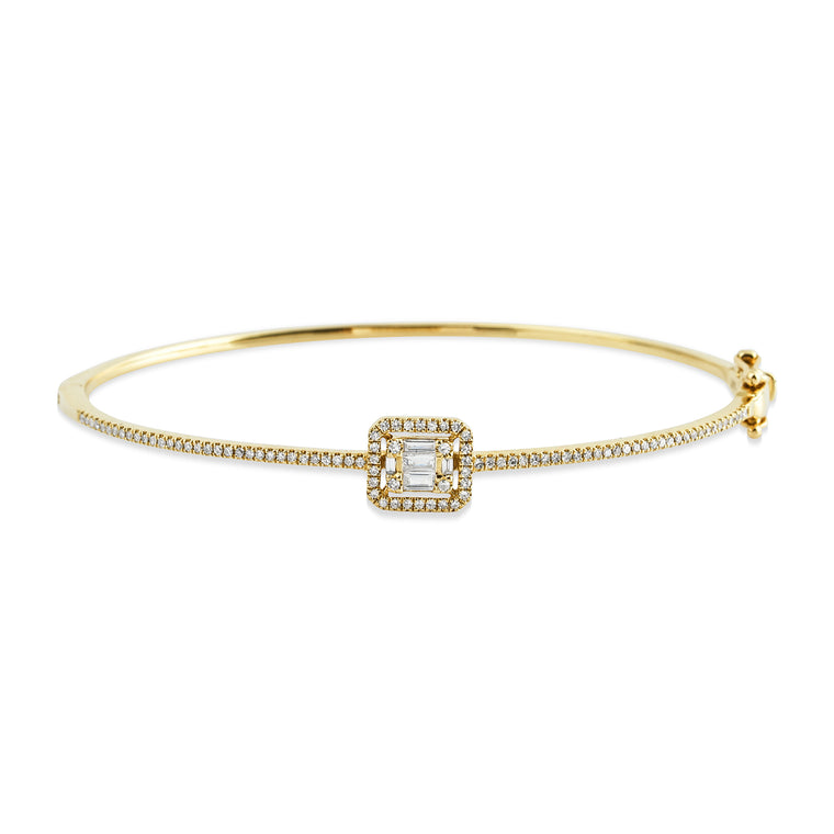 14KT Gold Baguette Diamond Bangle Bracelet ,NEW