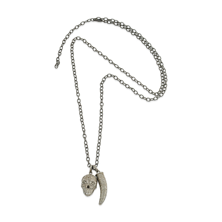 Diamond Skull and Horn Charm Necklace