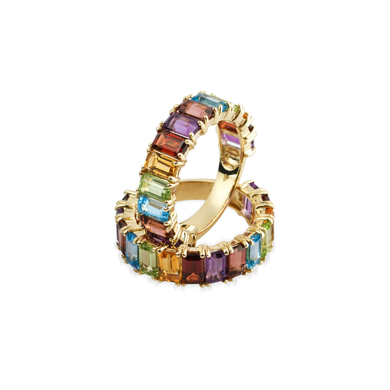 14KT Gold Rainbow Multi Colored Sapphire Ring, NEW