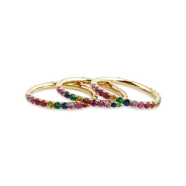 14KT Gold Rainbow Multi Sapphire Eternity Ring, NEW