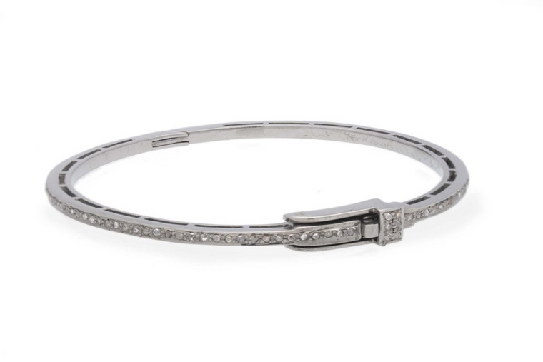 One Row All Full Pave Diamond Bangle
