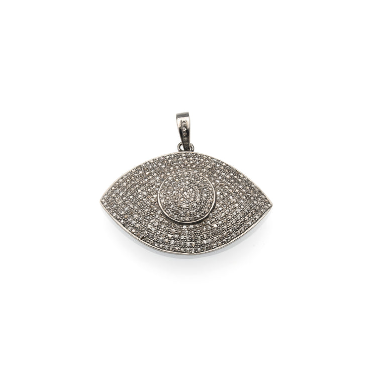 XL All Diamond Evil Eye Pendant