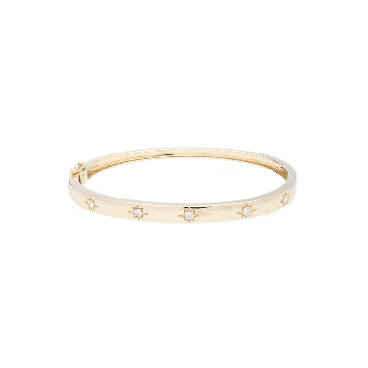 14K Yellow Gold Tiny Star Bangle with Diamond